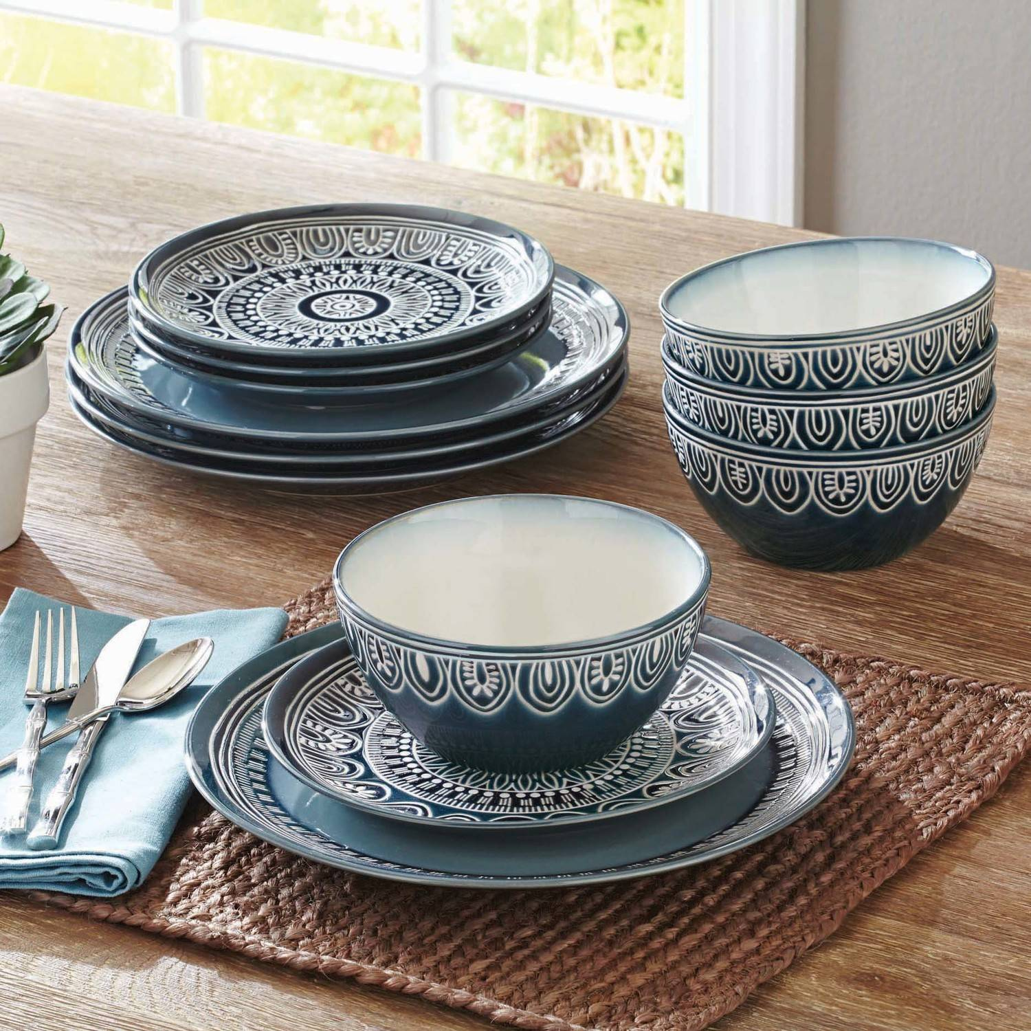 Better Homes And Gardens Teal Medallion 12 Piece Dinnerware Set, Teal
