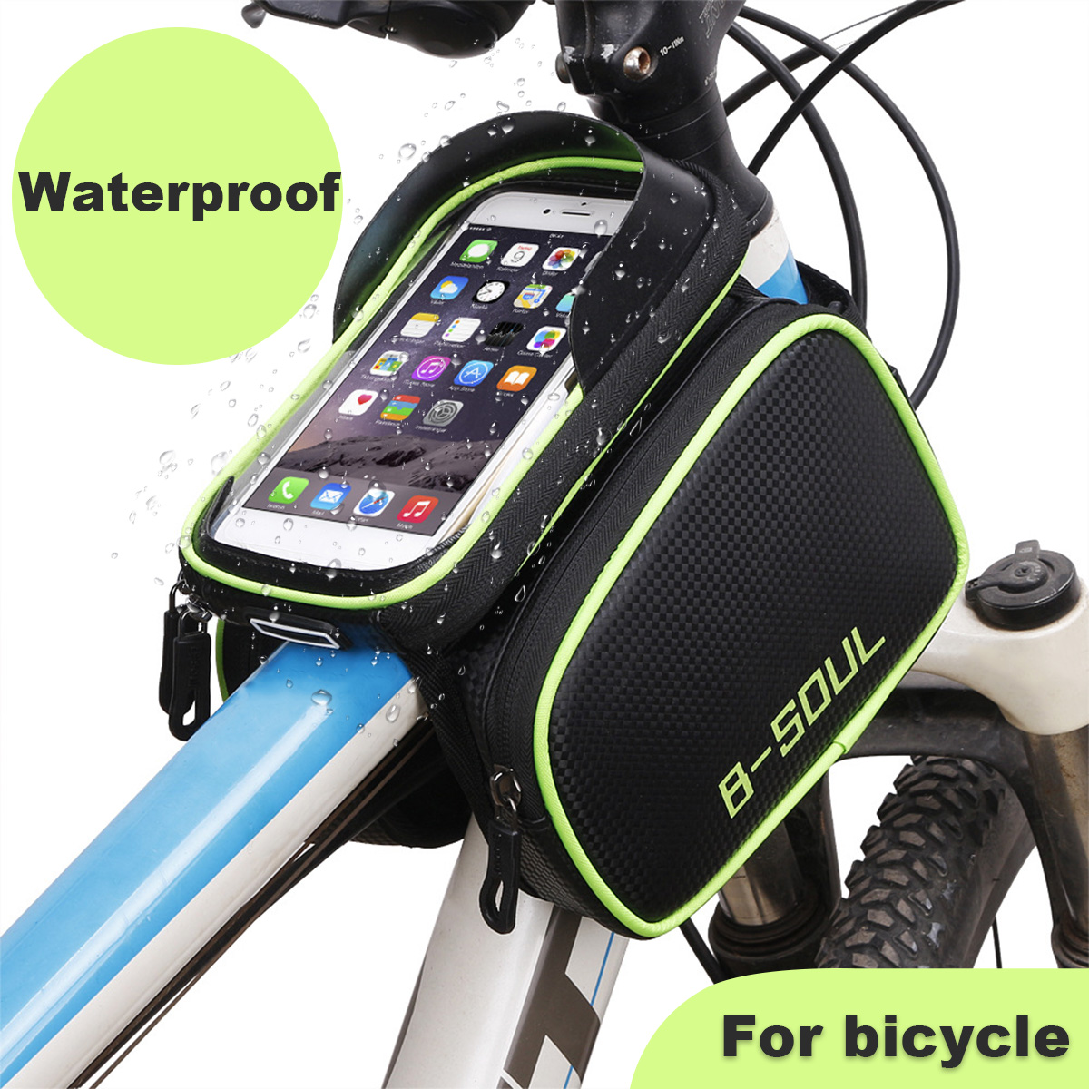 Bicycle Handlebar Frame Pannier Cycling Waterproof  Front Tube Bag Mobile Phone