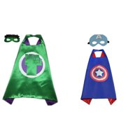 Captain America & Hulk Costumes - 2 Capes, 2 Masks with Gift Box by Superheroes