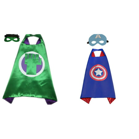 Captain America & Hulk Costumes - 2 Capes, 2 Masks with Gift Box by Superheroes - Captian America Mask