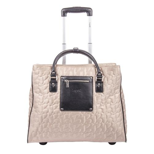Bugatti Women's Textured Carry On Rolling 17-inch Laptop Case Beige