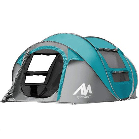 Backpacking Travel Camping Tents 3/4 Person/People/Man Instant Pop Up Easy Quick Setup,iClover Ventilated [2 Door] [Mesh Window] Waterproof 4 Season Big Family Privacy Dome Tent Shelter for
