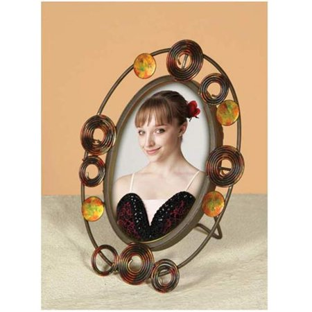 Graphics International I-409 Oval Wired Photo Frame With Circle Design - 10 X 10 (Wire Circle Frame)