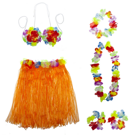 Lux Accessories Multicolor Halloween Tropical Hawaiian Lei Flower Floral Set 6PC (Hawiian Costume)