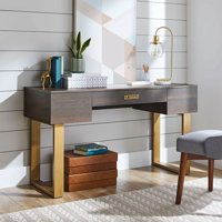 Better Homes & Gardens Lana Modern 3-Drawer Writing Desk, Toasted Brown Ash Finish