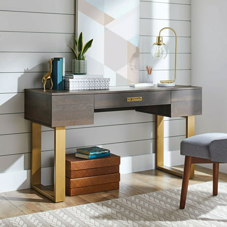 Better Homes & Gardens Lana Modern 3-Drawer Writing Desk, Toasted Brown Ash Finish (Ash Executive Desk)