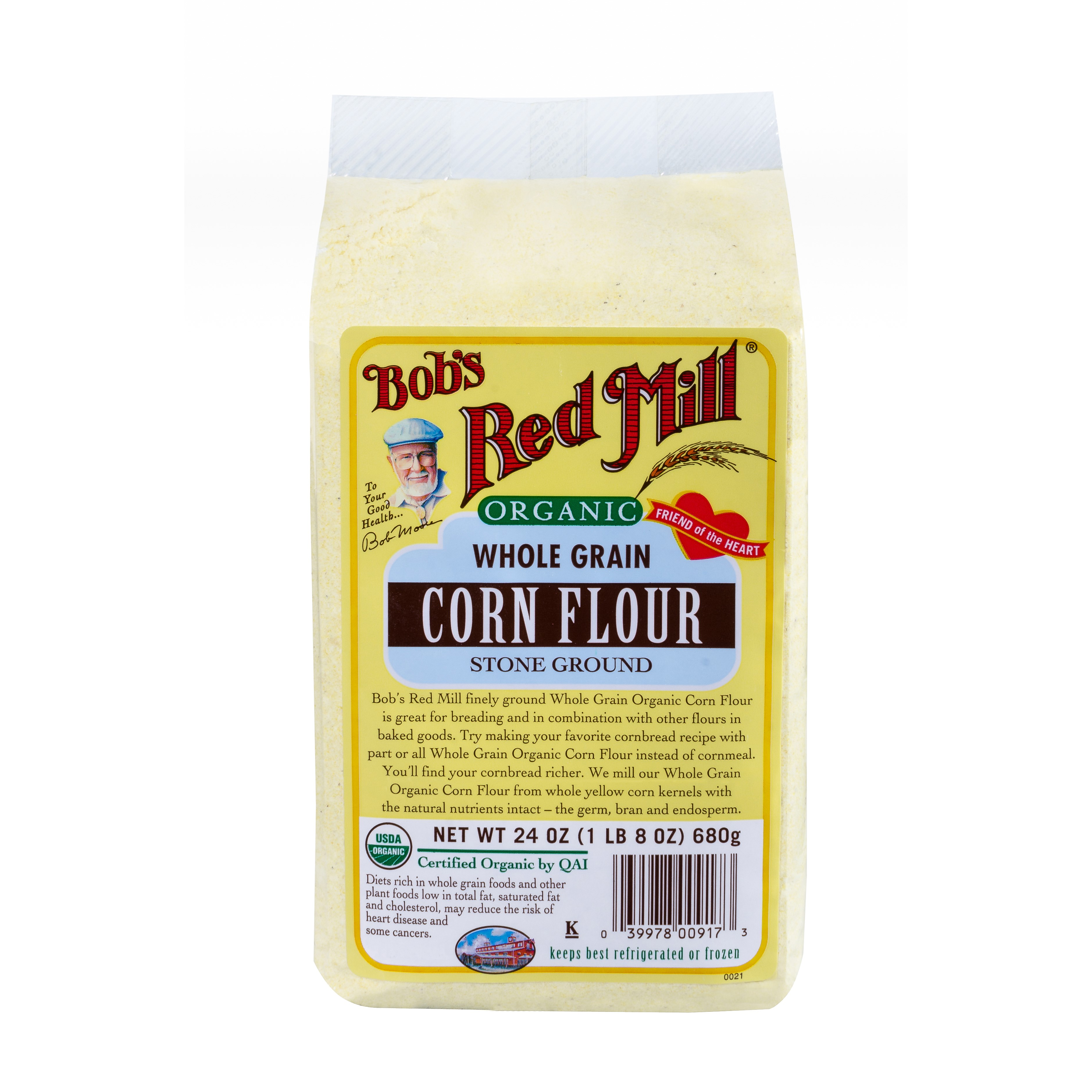 (2 Pack) Bobs Red Mill, Organic Corn Flour, 24 Oz