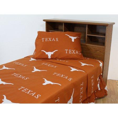 Texas Longhorns 100% cotton, 3 piece sheet set - flat sheet, fitted sheet, 1 pillow case, Twin, Team Colors