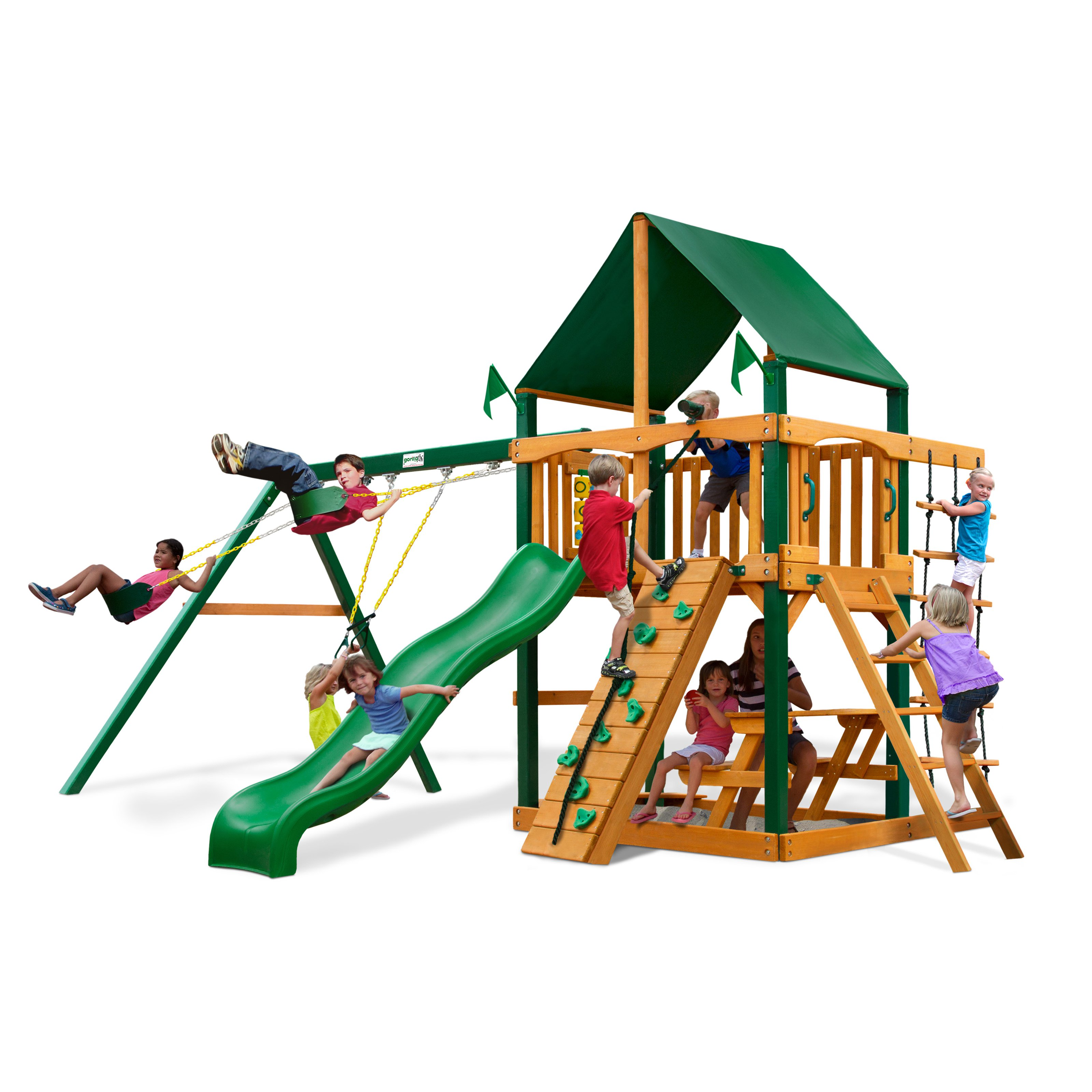 Gorilla Playsets Chateau Supreme Wood Swing Set with Canvas Green Canopy