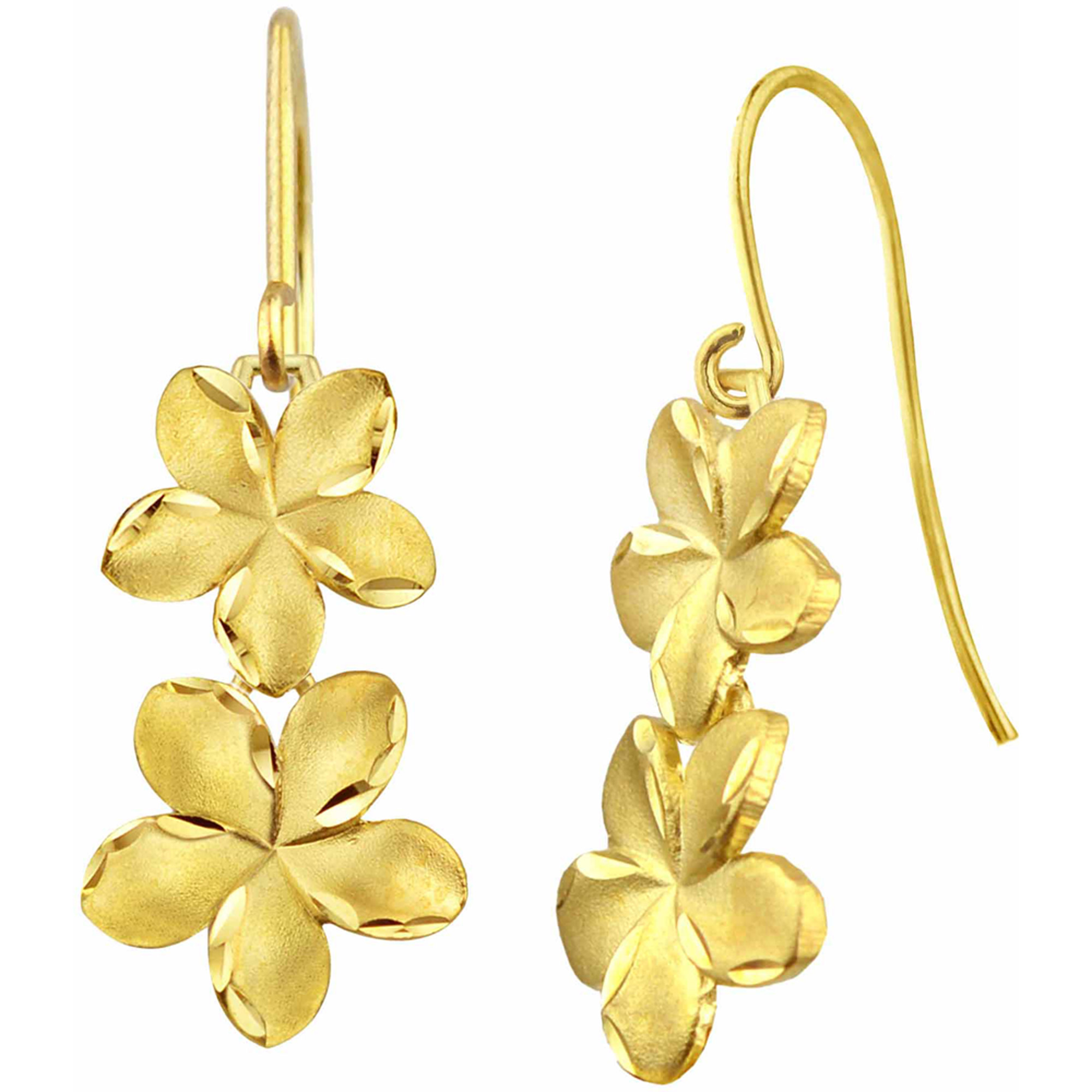 US GOLD 10kt Gold Satin and Diamond-Cut Plumeria Drop Earrings