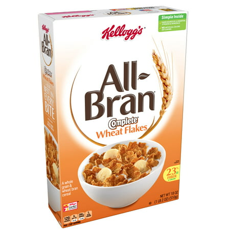 (2 Pack) Kellogg's All-Bran Complete Wheat Flakes Breakfast Cereal 18 Oz