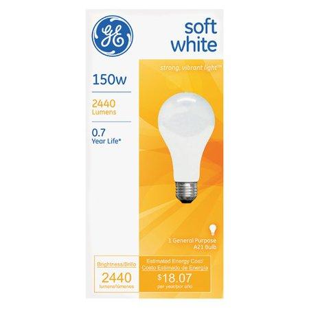 GE 150W 120V A21 Frost E26 2900K Soft White CC-8 Incandescent Light Bulb
