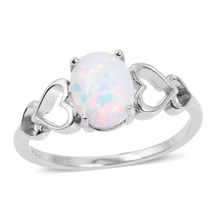 Pear Synthetic Opal Solitaire Ring 925 Sterling (Created White Opal Solitaire)