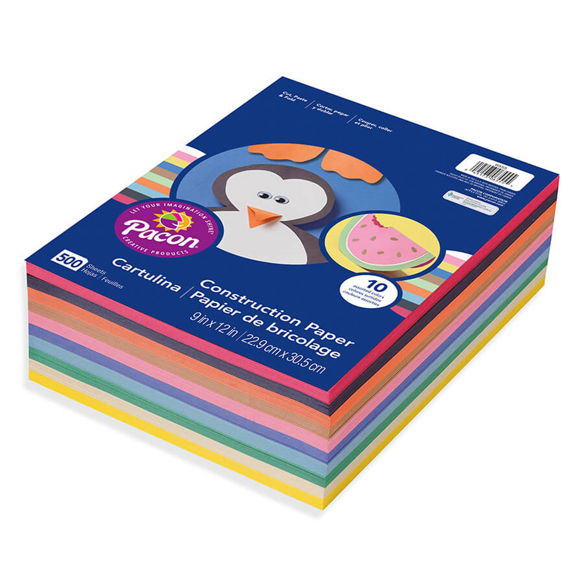 "Pacon® Lightweight Construction Paper, 9"" x 12"", 10 Assorted Colors, 500 Sheets"