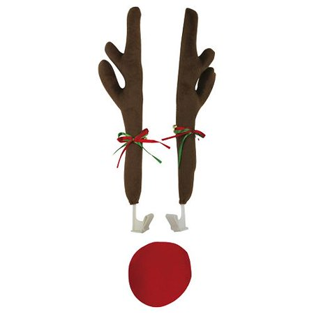 Festive Christmas Car Reindeer Antlers Decoration Kit with Plush Red Nose