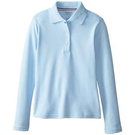 a9c1fe25 French Toast - Long Sleeve Picot Collar Interlock Polo Shirt (Little  Girls & Big Girls) - Walmart.com