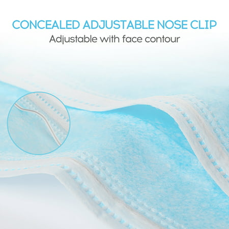 50PCS Disposable Mask Non-Woven Masks 3-Layer Comfortable Sanitary Mask Anti-dust Mouth Face Mask Blue - image 5 of 6