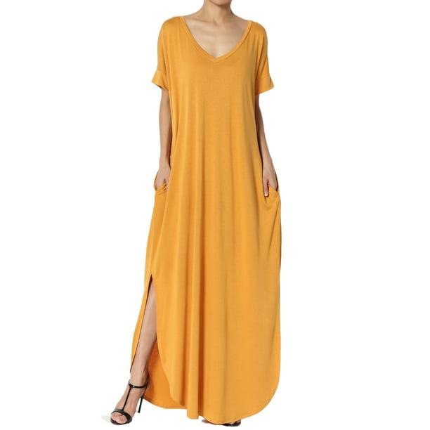 dark yellow dress : TheMogan Women's S~3X Jersey V-Neck Short Sleeve Relaxed T-Shirt Slit Maxi Dress