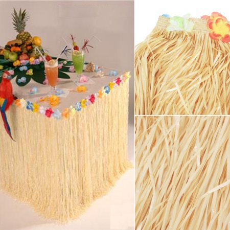 Hawaiian Luau Colorful Flower Grass Garden Beach Party Table Skirt Cover Decor Black Friday Big Sale (Table Grass Skirts)