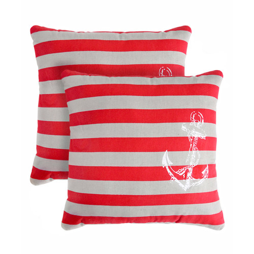 Pegasus Home Fashions Anchor Stripe Cotton Throw Pillow (Set of 2)