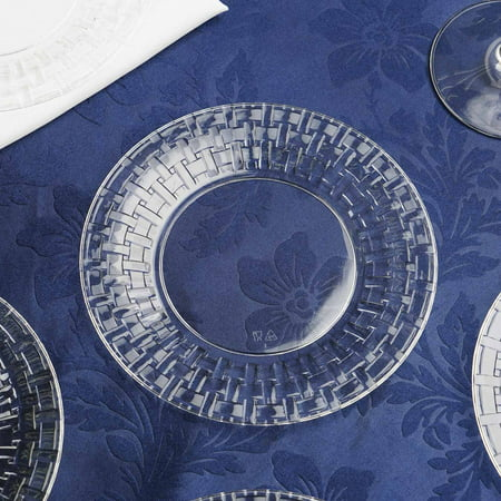 BalsaCircle 10 pcs Disposable Plastic Round Plates with Basketweave Edge for Wedding Reception Party Buffet Catering Tableware