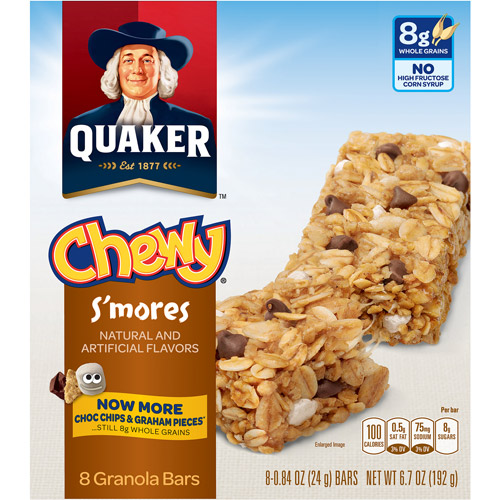 Quaker Chewy Low Fat S'mores Granola Bars, 0.84 oz, 8 count