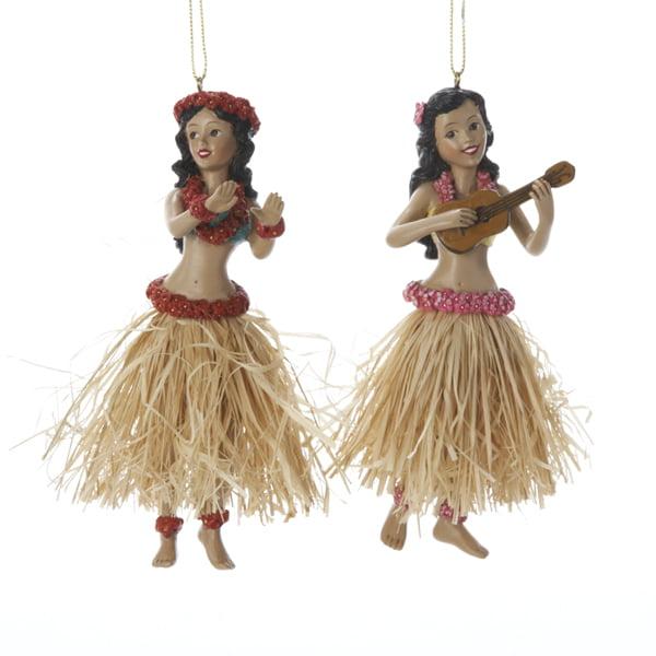 Club Pack of 12 Beach Party Hawaiian Tropical Hula Dancer Christmas Ornaments