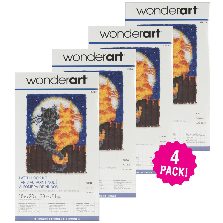 "Caron Wonderart Latch Hook Kit 15""X20"", Moonlight Meow. Multipack of 4"