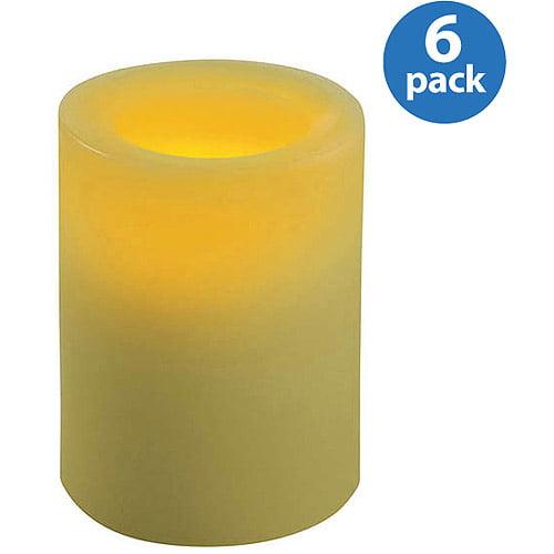 Inglow Flameless Round Pillar Candles, Citrus Sage, Set of 6