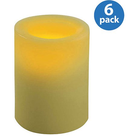 Inglow Flameless Round Pillar Candles, Citrus Sage, Set of 6