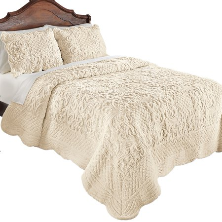 Elegant Ultra-Soft Faux Fur Plush Quilt Bedding with Scalloped Edges and Scroll and Lattice Patterns, Full/Queen, Ivory Boys Queen Quilt Bedding