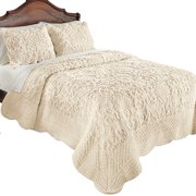 Elegant Ultra-Soft Faux Fur Plush Quilt Bedding with Scalloped Edges and Scroll and Lattice Patterns, Full/Queen, Ivory