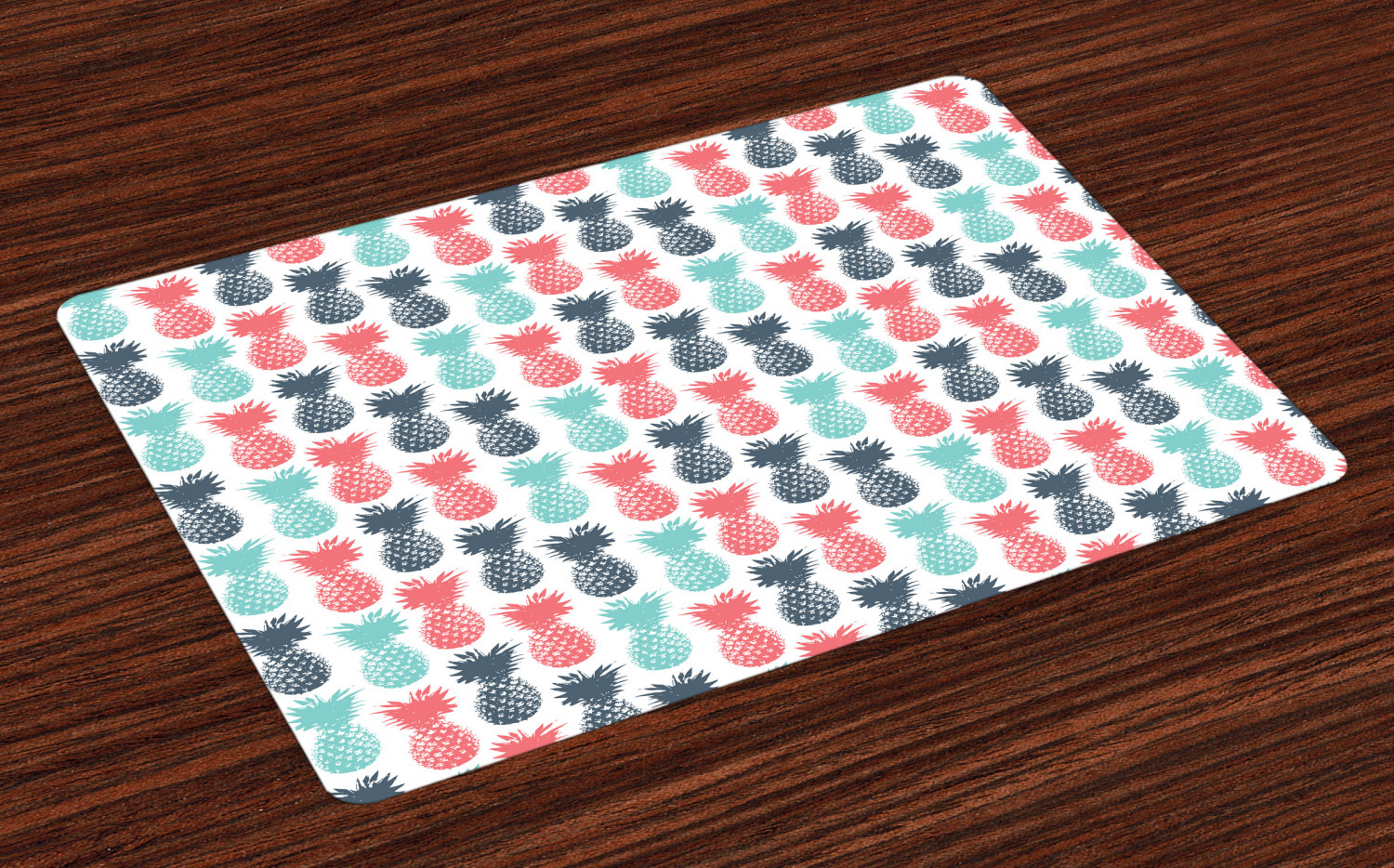Set of 4 Pineapple with Green Border Canvas Cotton Nautical Summer Place Mats