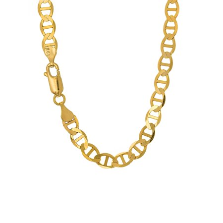 """14k Solid Yellow Gold 4.5 mm Mariner Chain Bracelet, Lobster Claw Clasp - 8"""""""