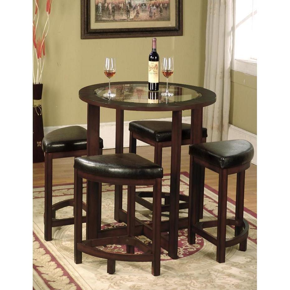 Roundhill Furniture Cylina 5 Piece Counter Height Dining Room Set by Roundhill Furniture