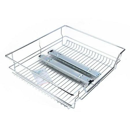 Ejoyous Under Shelf Storage Basket Kitchen Pantry Pull Out Sliding Metal Basket Drawer Storage