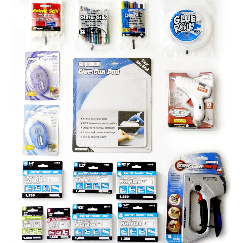 Surebonder Kit: TriggerFire Staple Gun, Dual Mini Glue Gun, Staples, Glue Sticks, Adhesive Runners by Surebonder