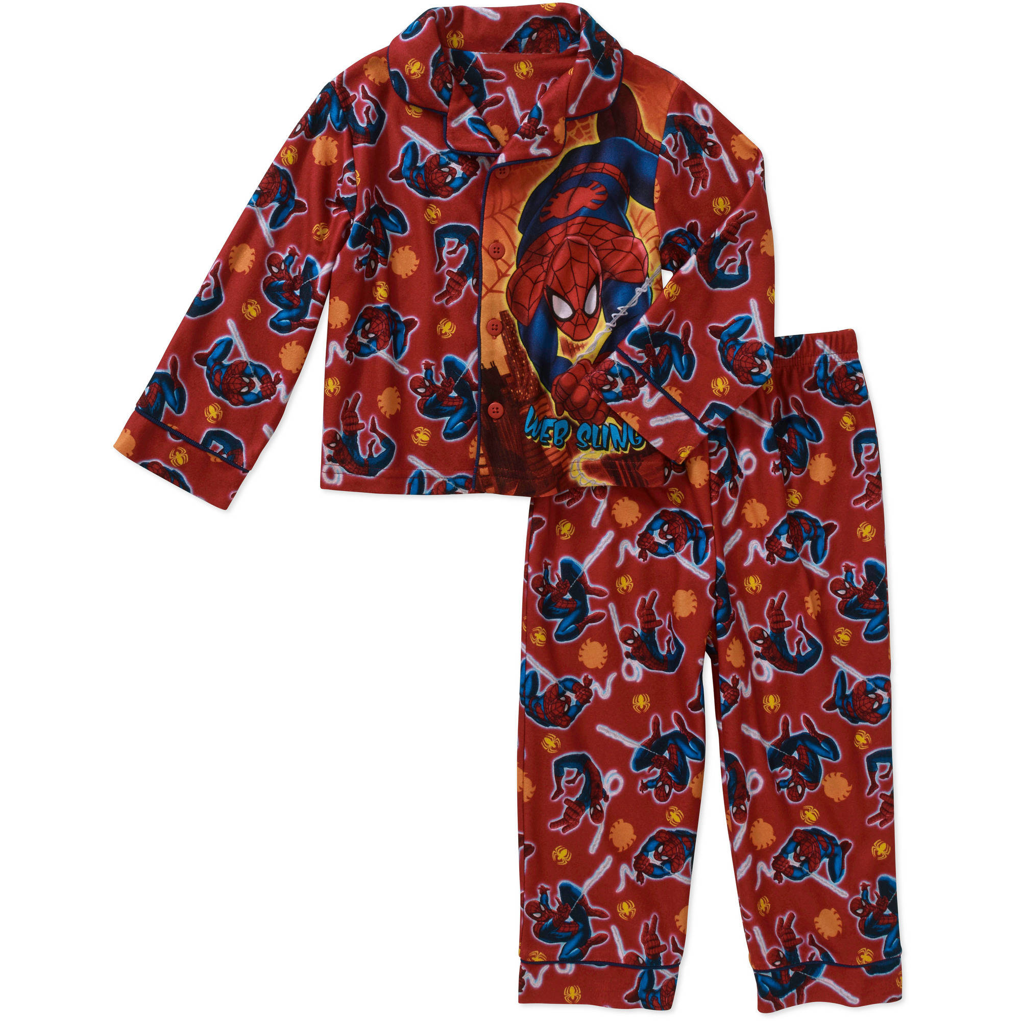 Spider-Man Baby Toddler Boy Button Down Pajama Sleepwear Set