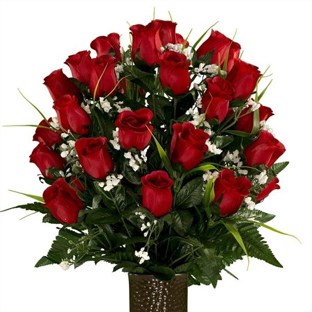 Red Roses with Lily Grass, featuring the Stay-In-The-Vase Design(C) Flower Holder (MD1991) Fresh Flower Holders
