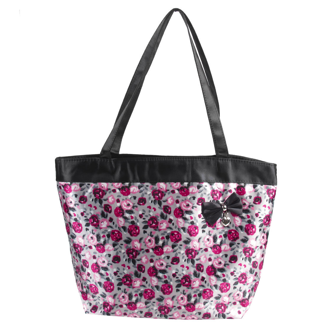 Retangle Folding Bowknot Decoration Floral Prints Gray Shopping Bag Handbag