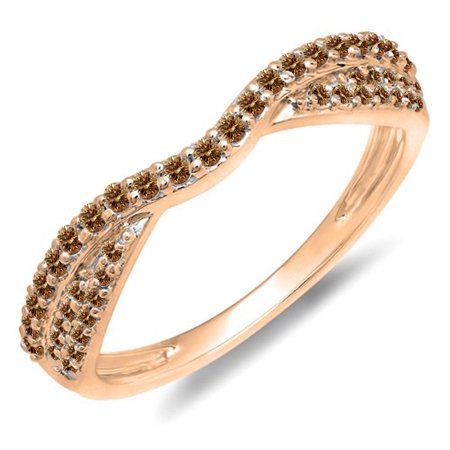 0.36 Carat (ctw) 18k Rose Gold Round Champagne Diamond Ladies Anniversary Wedding Band Stackable Ring 1/3 (Champagne Diamond Anniversary Ring)