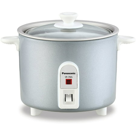 Panasonic 1.5-cup Mini Rice Cooker with Glass Lid, Silver