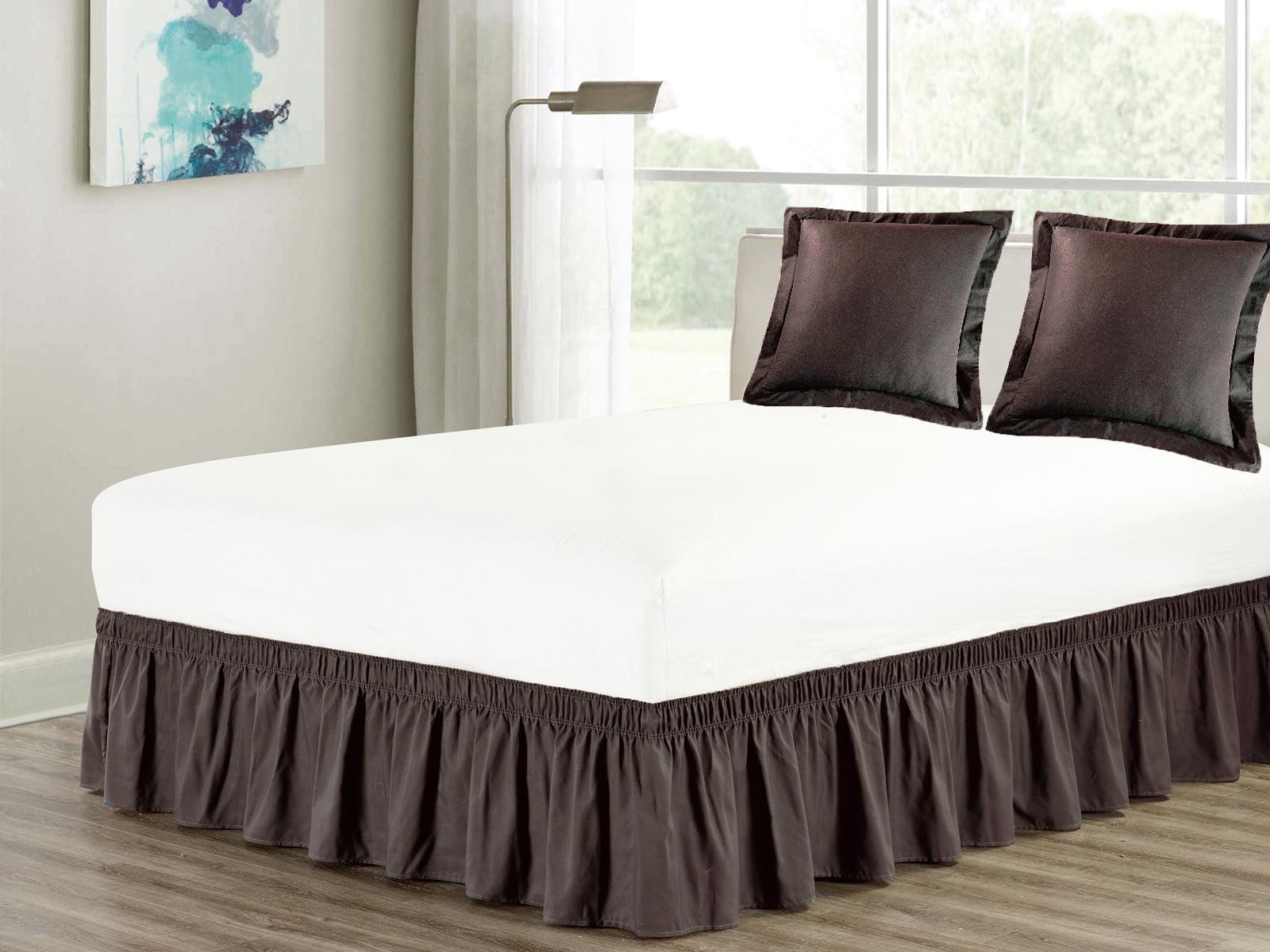 3 Piece Matching Ruffled Bed Skirt Euro Pillow Sham Pair Set King Elastic Wraparound Brown Coffee Chocolate Walmart Com Walmart Com