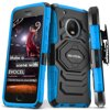 Moto G5 Plus Case, Evocel [Belt Clip Holster] [Kickstand] [Dual Layer] New Generation Phone Case for Motorola Moto G Plus (5th Gen) (2017), Blue Experience the New Generation difference by Evocel. This phone case offers dual layers of rugged protection with a shock-absorbing silicone inner layer and an impact-resistant polycarbonate shell. The New Generation is a reliable and highly-protective case made to precisely fit your device.BELT CLIP ATTACHMENTA separate, removable 180-degree swivel belt clip attachment makes carrying your phone simple. Customize the position of your phone the way you want, eliminating the bulk in your pocket.KICKSTANDA built-in locking kickstand allows for hands-free viewing of all your favorite content on your phone in landscape orientation.HARD OUTER SHELLKeep the surface of your phone clean of nicks, smudges and scratches with a hard impact resistant exterior cover constructed of polycarbonate material.SOFT INNER LININGThe rigid, yet soft fitted inner silicone liner is the second layer of protection that wraps around your phone to help cushion it against the day-to-day wear and tear of use.RAISED LIPThe streamline rim construction of the TPU is one of many case features that help to maximize protection by absorbing low impact drops.