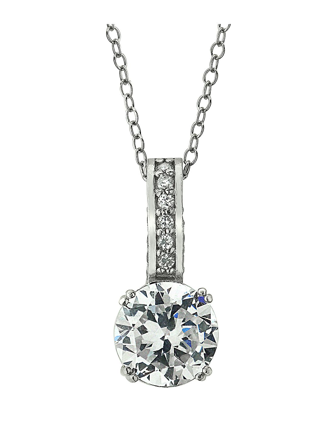 Sterling Silver and Cubic Zirconia Solitaire Pendant Necklace