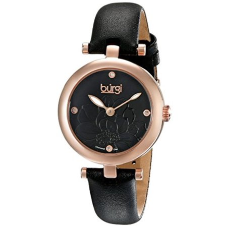 (Burgi Women's BUR128BKR Diamond Accented Flower Dial Rose Gold & Black Leather Strap Watch)