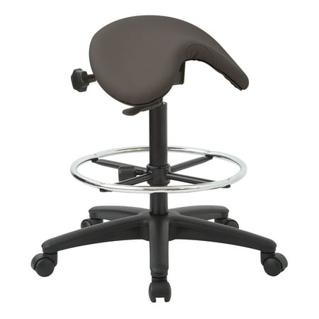 """OSP Furniture Work Smart Pneumatic Drafting Chair with Adjustable Foot Ring. Backless Stool with Seat Saddle Seat and Seat Angle Adjustment. Height Adjustment 25"""" to 35"""" Overall."""