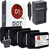 4x DOT-01 Brand 1300 mAh Replacement Sony NP-FV50 Batteries and Charger for Sony NEX-VG10 Camcorder and Sony F