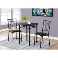 Monarch-Dining Set - 3-Piece Set / Black Metal And Top