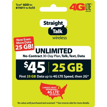 Straight Talk $45 Unlimited 30 Day Plan (with 25GB of data at high speeds, then 2G*) (Email